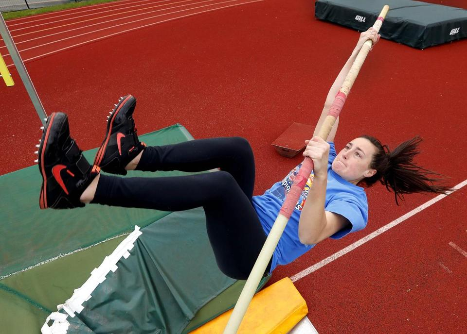 North Reading's Rachel Hill pole vaults during practice at North Reading High School in North Reading, Mass., Tuesday, May 9, 2017.(Winslow Townson for The Boston Globe)