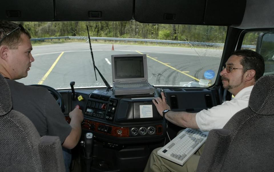 Part of the worker safety research conducted at the Hopkinton site involved a driving course in tractor-trailer decision making, shown above. Other research focused on workplace injuries such as falls, carpal tunnel syndrome, and the various type of impact of repetitive tasks.