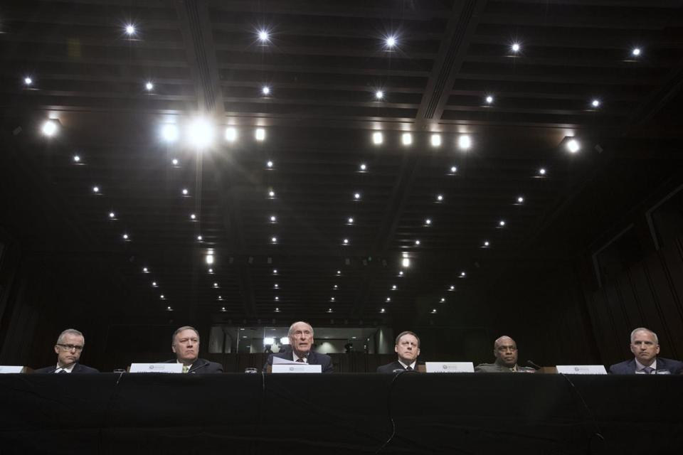 epa05957697 Intelligence leaders appear before the Senate Select Committee on Intelligence hearing on 'World Wide