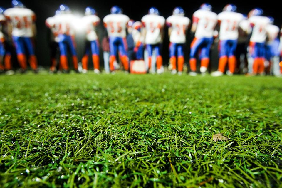 09/27/2008 CONCORD, MA The turf on the football field at Concord-Carlisle High School in Concord is shown during a game between Concord and Newton South High School. (ARAM BOGHOSIAN FOR THE BOSTON GLOBE) Library Tag 01192009