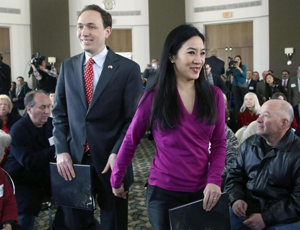 Clay Pell and Michelle Kwan in Providence in 2014.
