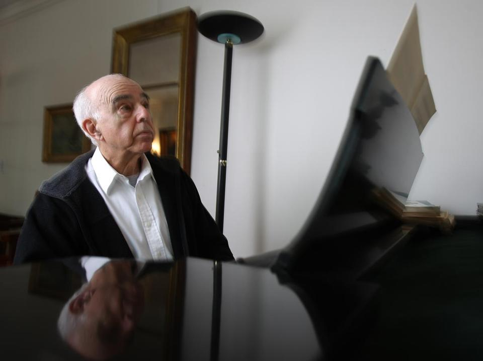 Composer Yehudi Wyner, at his Medford home in 2009.