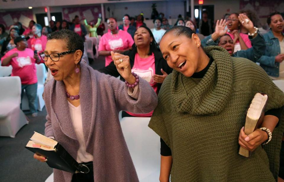 The Rev. Gloria White-Hammond (left) and the Rev. Mariama White-Hammond at the Jubilee Christian Church in Mattapan.