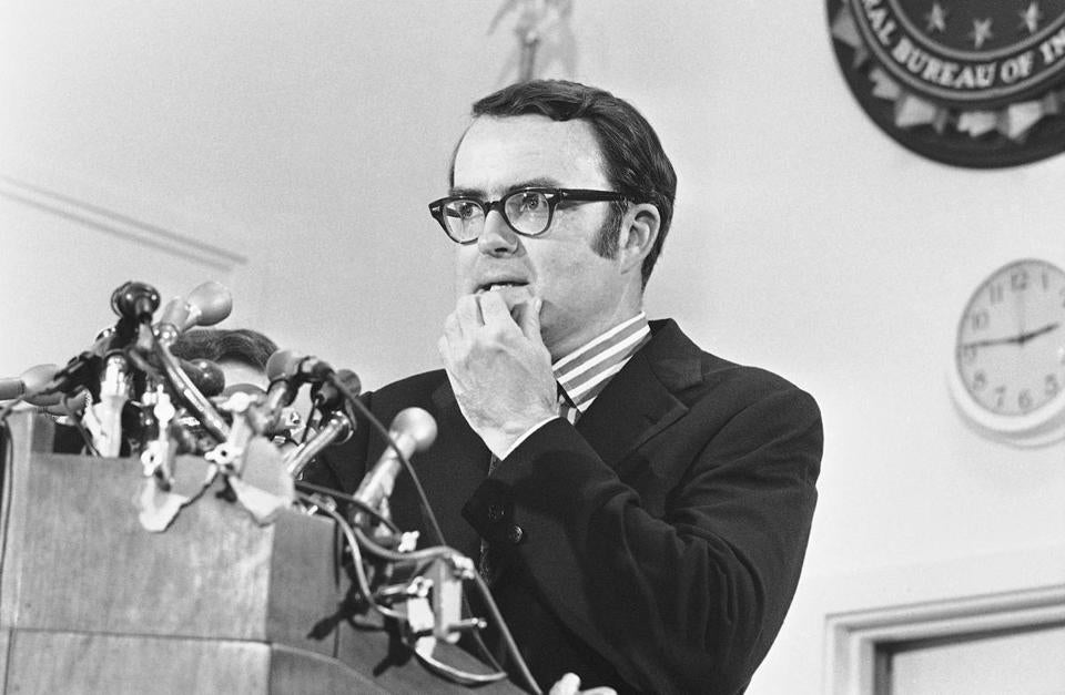 Acting FBI director William Ruckelshaus paused during a news conference in Washington in May 1973.