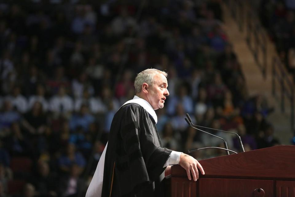 Dennis Lehane gave the address Sunday at Emerson College's commencement at Agganis Arena.