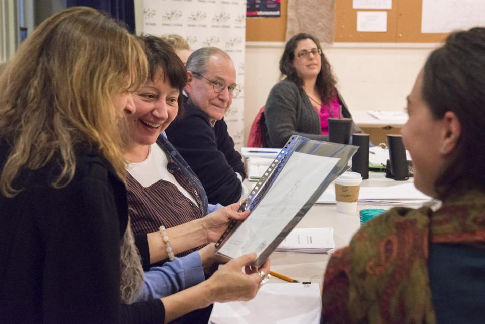 "Gy Mirano, Adrianne Krstansky, Scott Pinkney, and Adele Traub at a rehearsal for ""Days of Atonement"" at Israeli Stage."