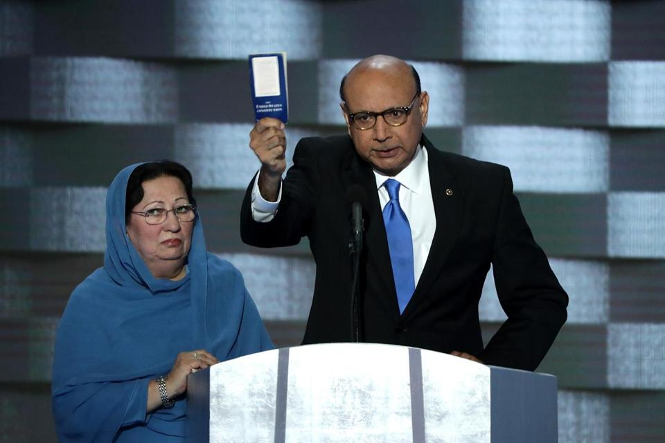 Ghazala and Khizr Khan at the Democratic National Convention in 2016.