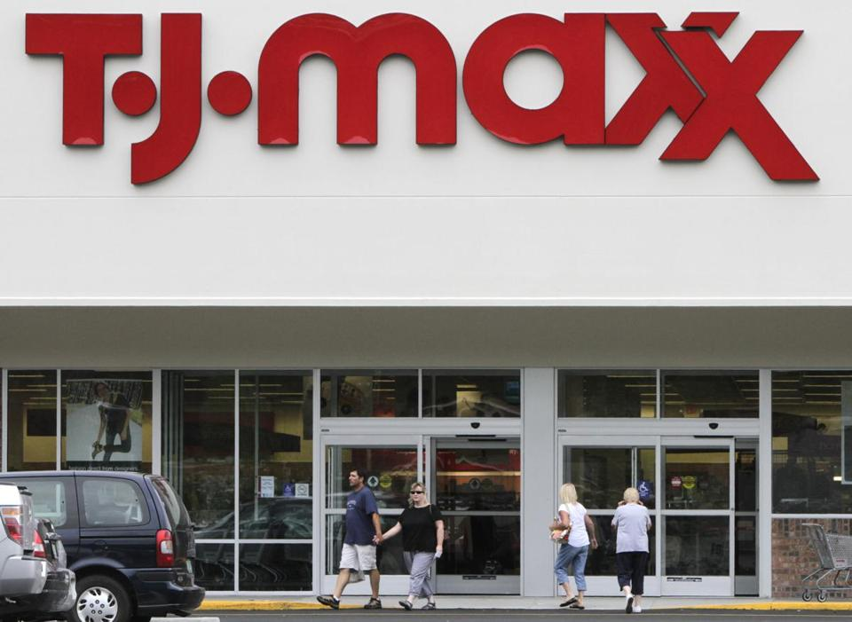 A weak outlook overshadowed strong quarterly profit at TJX and shares slid more than 4 percent Tuesday.