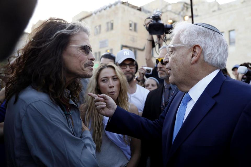 Steven Tyler (left) talked with the new US ambassador to Israel, David Friedman, after the two met by coincidence following a visit to the Western Wall in the old city of Jerusalem.