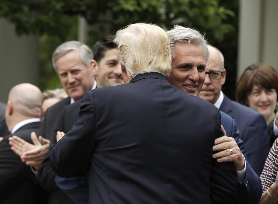 President Donald Trump Hugs House MaJority Leader Kevin McCarthy Of Calif.  In The Rose Garden