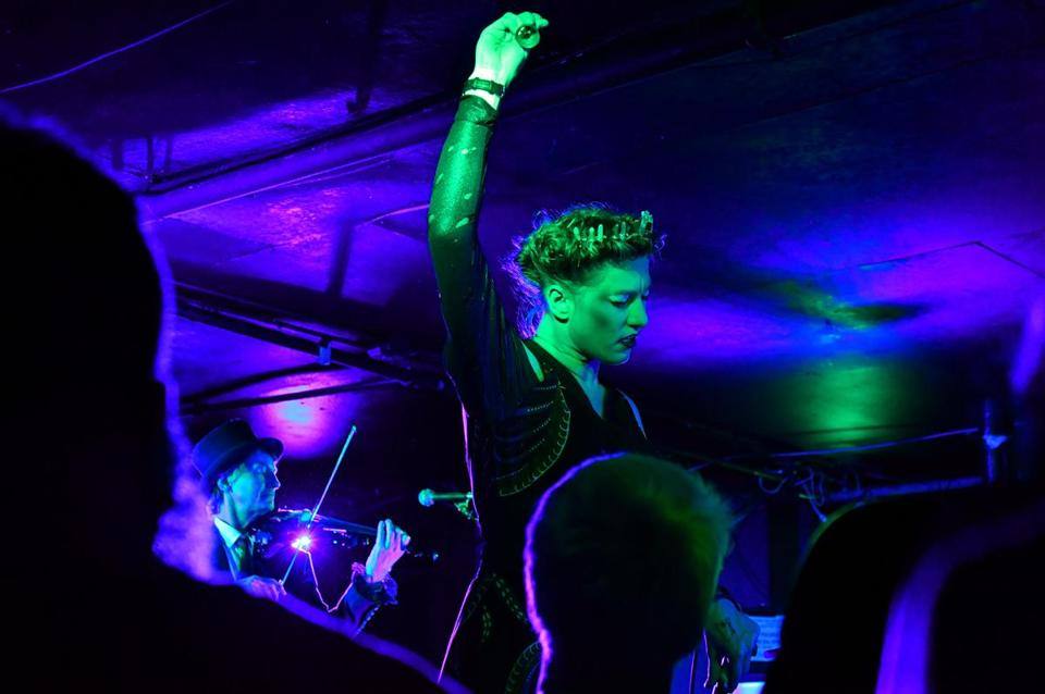 Amanda Palmer performing at the Middle East Wednesday night.