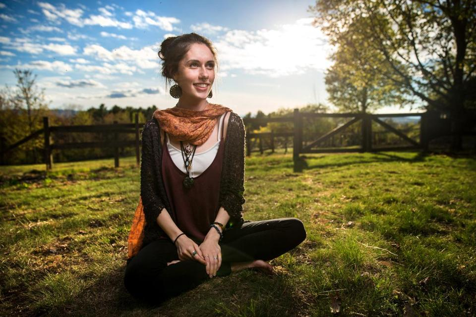 05/12/2017 WOLFEBORO, NH Rebecca Gronski (cq) poses for a photo in Wolfeboro, NH before leading a meditation at a participants home. (Aram Boghosian for The Boston Globe)