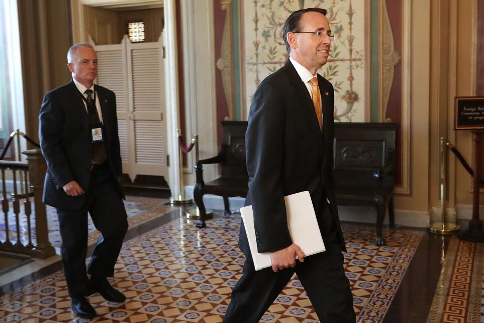 Deputy Attorney General Rod Rosenstein left the US Capitol Friday.