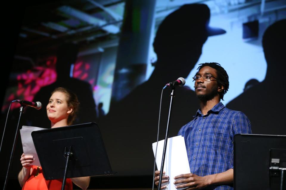 "Janelle Nanos and Kai Martin shared the stage at the ""Globe Live"" event."