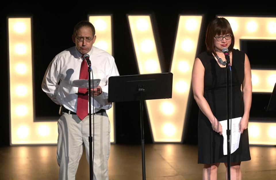 Mike Bello and Shirley Leung told the audience about some of the strange story ideas they have received.