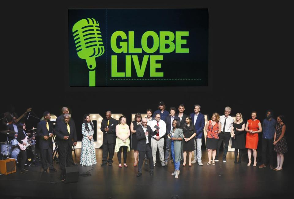 The cast of Globe Live on stage at the Paramount Center on Friday night.