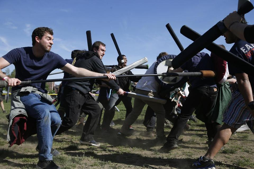 Boston, MA -- 5/21/2017 - Groups battle during a Medieval melee hosted by Anvard Dagorhir, a fantasy group, on the Boston Common. (Jessica Rinaldi/Globe Staff) Topic: 22battle Reporter: