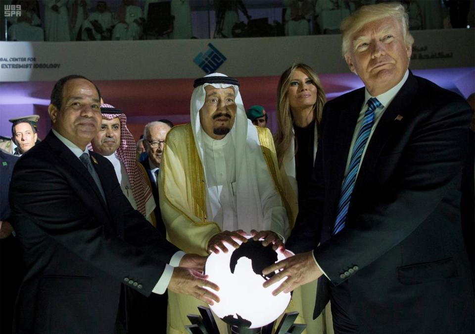 Image result for picture of trump globe holding ritual