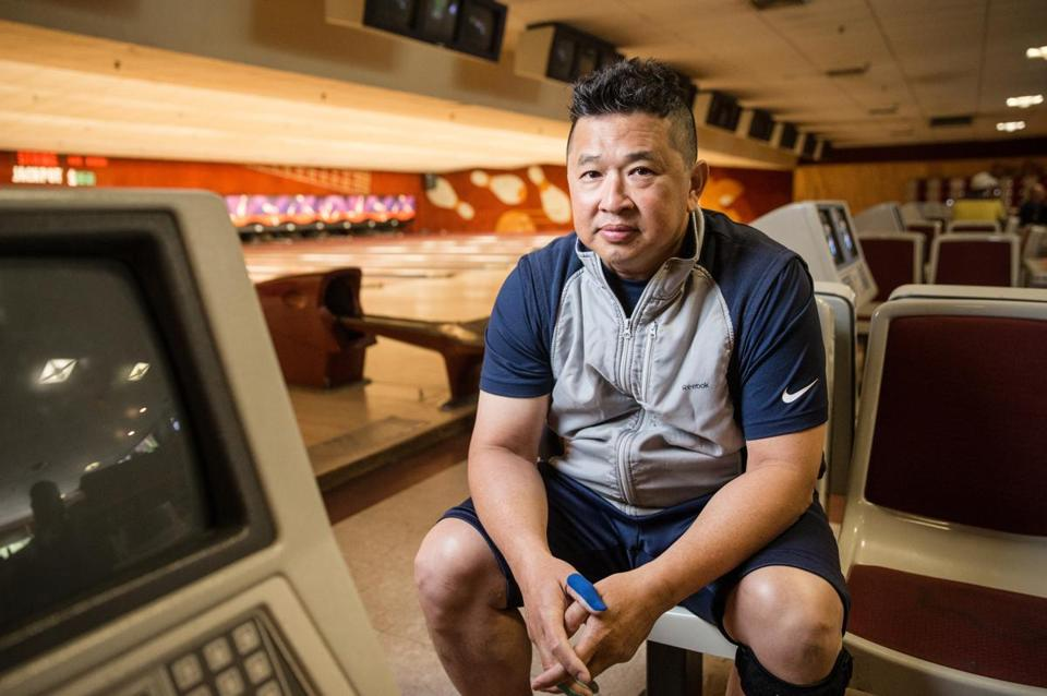 05/21/2017 CAMBRIDGE, MA Bowler Patiparn Sukkham (cq) 41, of Medford, poses for a photo at Lanes and Games in Cambridge. (Aram Boghosian for The Boston Globe)