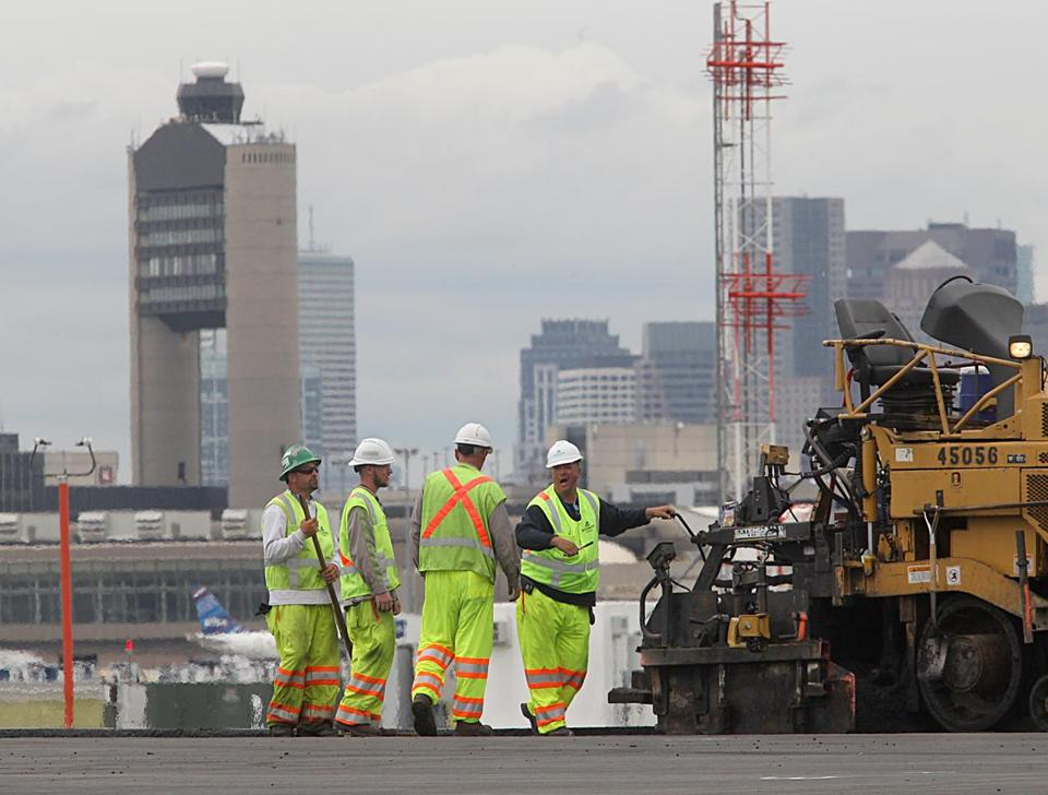 Boston, MA., 05/24/17, Paving in prociess on runway 22L. Two runways at Logan Airport are closed due to two reasons: repaving of the runway and the rebuilding of a pier which holds the approach lighting system for one of the runways. Globe staff/Suzanne Kreiter