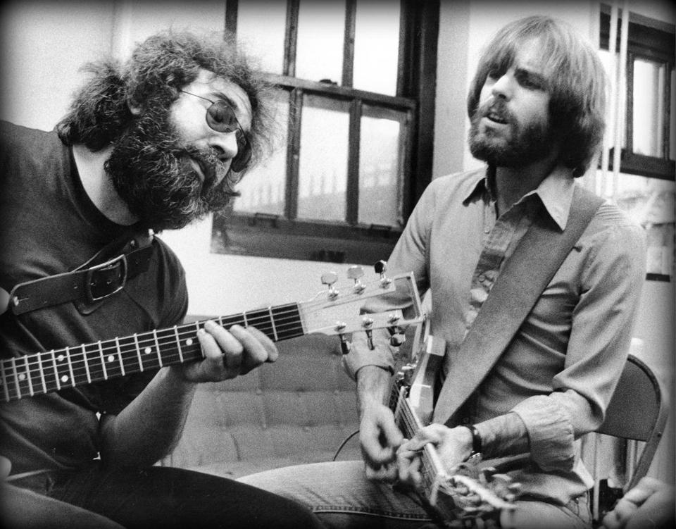 """A 1977 shot of Jerry Garcia and Bob Weir from """"Long Strange Trip."""""""