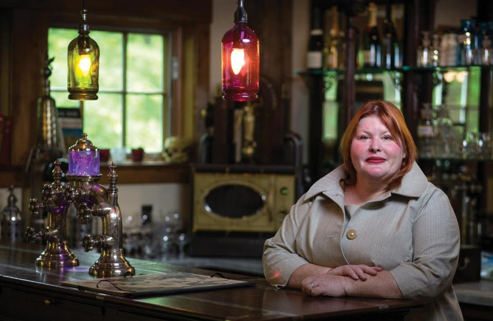 Cassandra Clare in her barn in Amherst that is filled with her collection of steampunk items for inspiration.