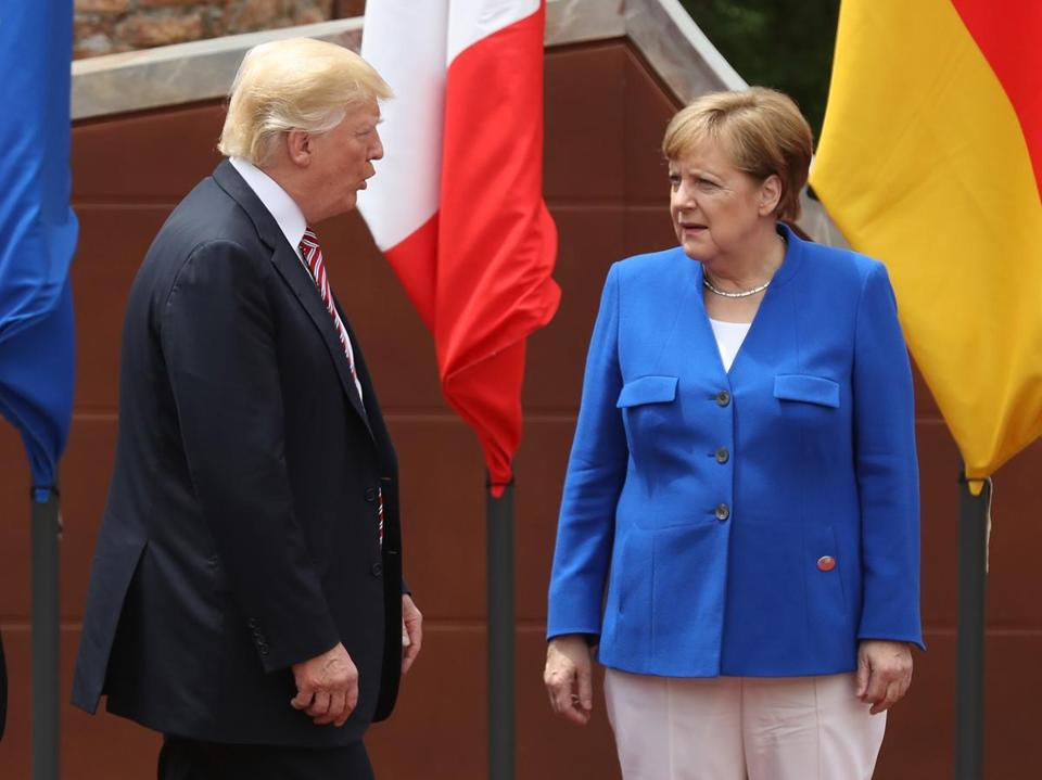 President Donald Trump and German Chancellor Angela Merkel.