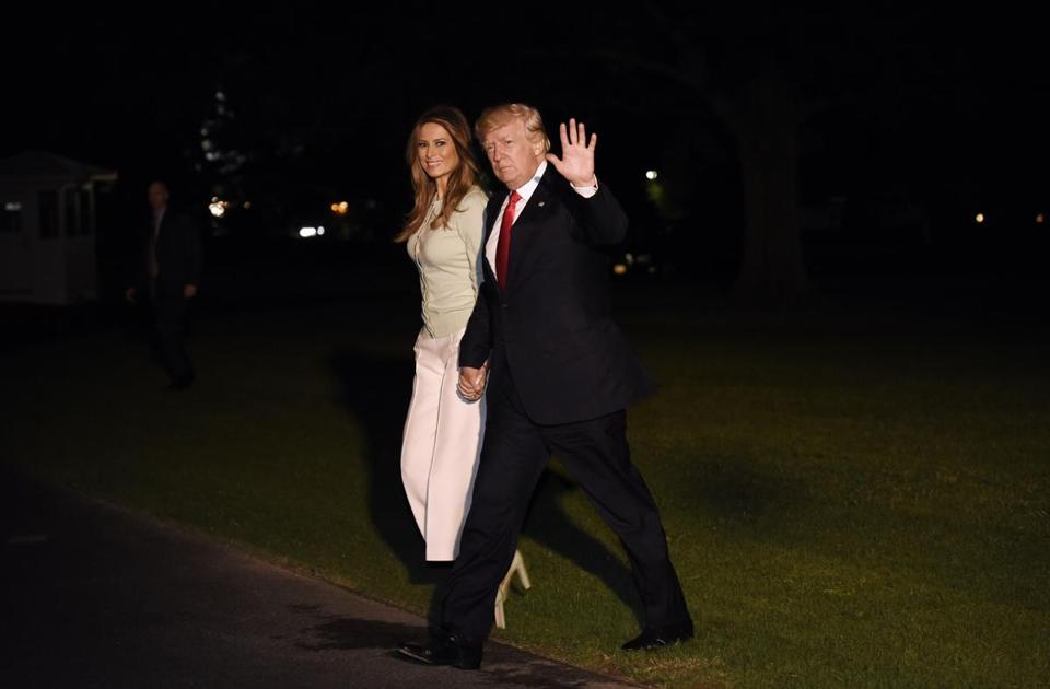 WASHINGTON, DC - MAY 27: President Donald Trump and First Lady Melania Trump return to the White House on May 27, 2017 in Washington, DC. Trump is returning from his first overseas trip as president. (Photo by Olivier Douliery - Pool/Getty Images)
