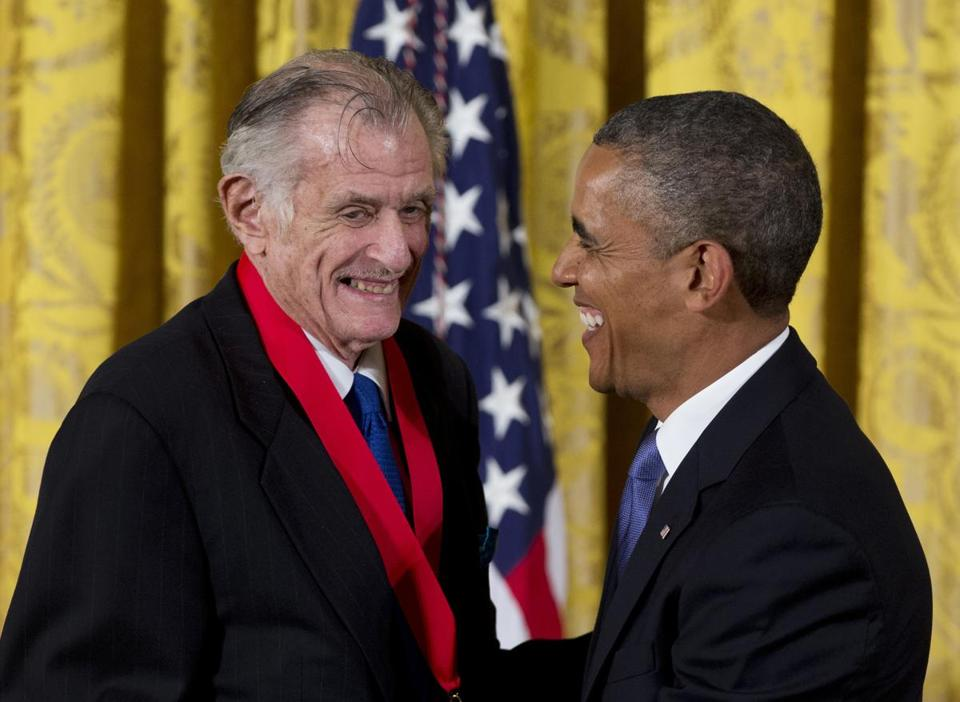 Frank Deford with President Obama in 2013, after Obama presented him with the National Humanities Medal.