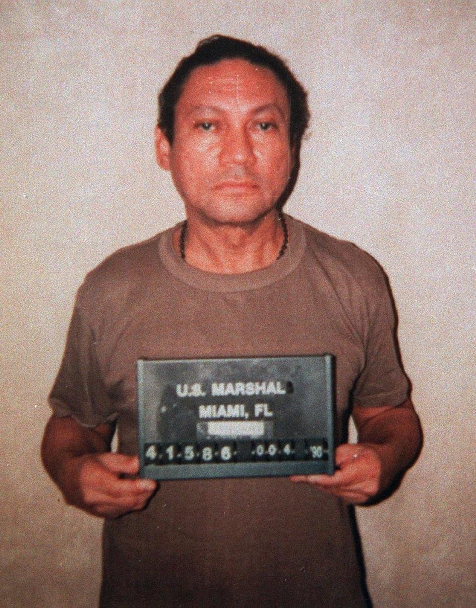 The US Marshals Service released this photo of Mr. Noriega in January 1990, shortly after he was taken into custody.