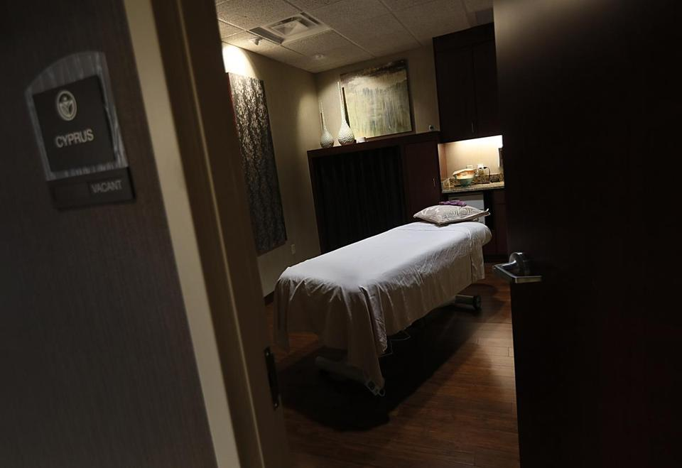 Chestnut Hill, MA., 05/31/17, One of the treatment rooms in the spa of Life Time Center. After years as operating as the Atrium mall, the retail hub on Route 9 in Newton will reopen this week as the Life Time center, a mix of doctors offices and fitness facilities. The redevelopment is an experiment in repurposing old mall complexes that have fallen out of favor with shoppers. The hope is that the complex will serve as a lifestyle hub for high-end consumers. Suzanne Kreiter/Globe Staff