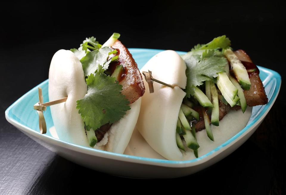 Brookline, MA: 05-24-2017: Pork belly buns at Bess's Cafe in Brookline, Mass. May 31, 2017. Photo/John Blanding, Boston Globe staff story/Ellen Bhang, Food ( 07cheap )
