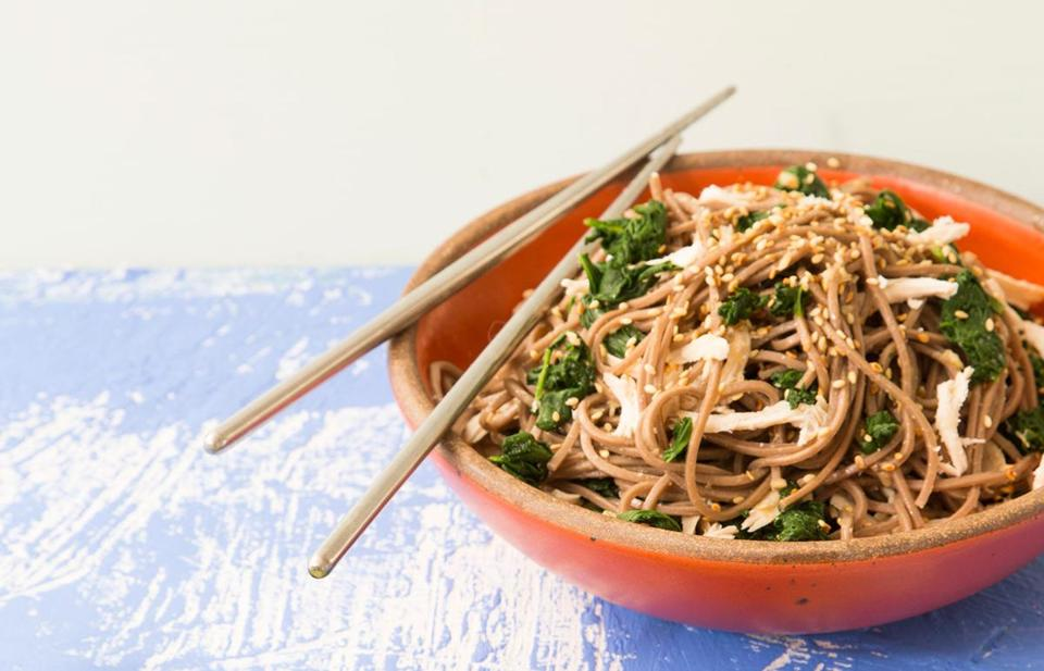 Sesame-ginger soba with chicken and spinach.