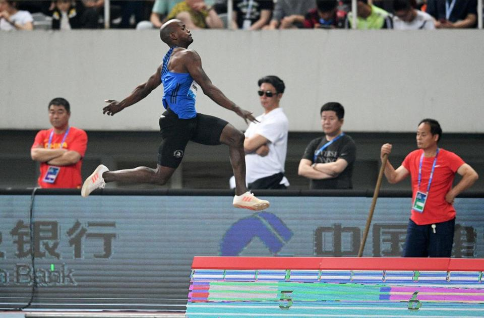 Jeff Henderson of the US competes in the mens long jump during the Shanghai Diamond League athletics competition in Shanghai on May 13, 2017. / AFP PHOTO / Johannes EISELEJOHANNES EISELE/AFP/Getty Images