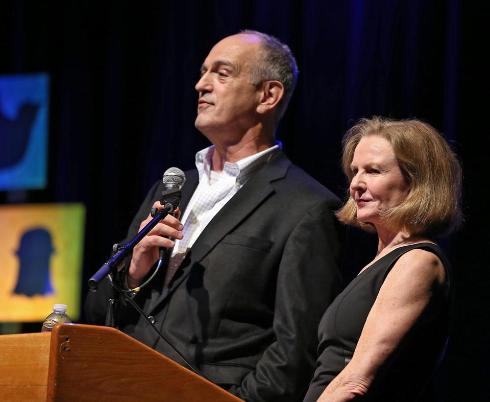 "WGBH counters ""Here & Now"" with ""Boston Public Radio,"" hosted by Jim Braude (left) and Margery Eagan."
