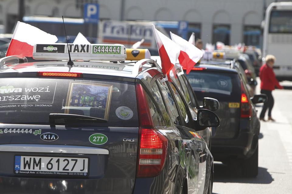 Taxi drivers blocked traffic in Warsaw on Monday.