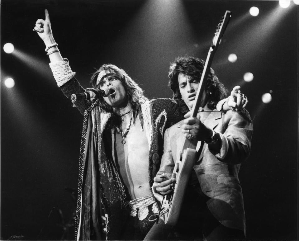 Boston, MA - 3/13/1986: (L-R) Steven Tyler lead singer and Joe Perry, guitarist in rock band Aerosmith . Globe file photo Phil Spring.