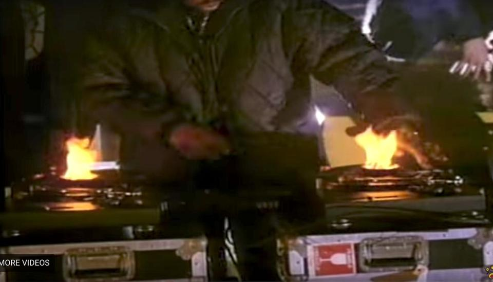 Almighty RSO's DJ Deff Jeff (Jeff Neal) burning up the turntables at a live show.