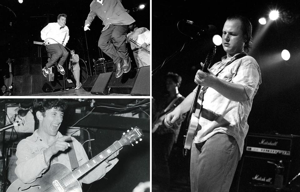 The Mighty Mighty Bosstones live; Dicky Barrett holds the microphone (top left).  Black  Francis of the Pixies (right); and Jonathan Richman  at Jonathan Swift's in Harvard Square in 1984.