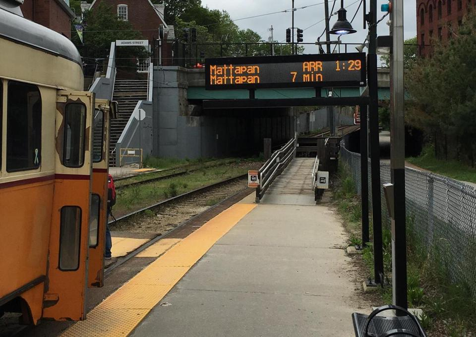 The MBTA plans to turn on digital countdown clocks at seven of the Mattapan line's eight stops later this month.