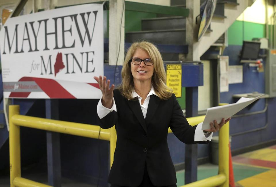 Former Maine Health and Human Commissioner Mary Mayhew arrives at Dingley Press to announce she's running for governor, Tuesday, June 6, 2017, in Lisbon, Maine. She vowed to fight a defeatist attitude in state government and to continue changes she helped implement in the administration of Republican Gov. Paul LePage. (AP Photo/Robert F. Bukaty)