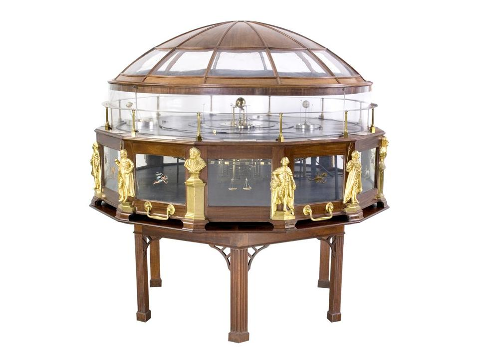 An orrery, mechanical model of the solar system, built by Joseph Pope during the 1770s and '80s.