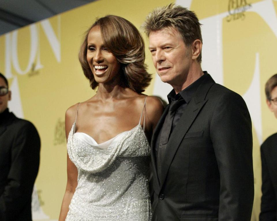 Iman and David Bowie at a New York fashion event in 2005.