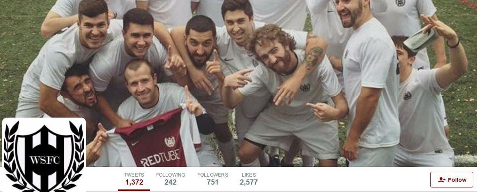 The club page for Washington Square FC includes team members posing with their RedTube-sponsored jersey.