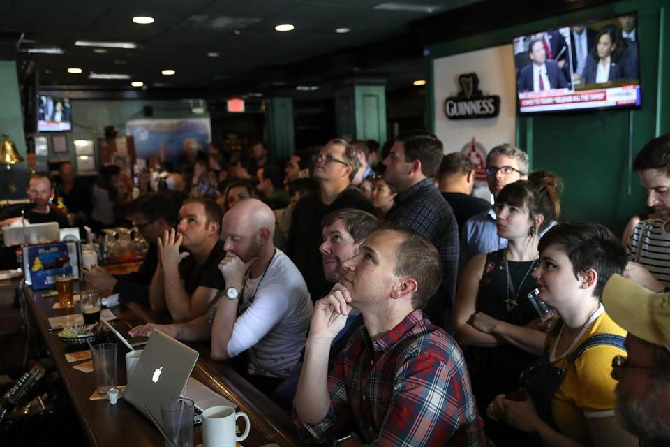 People at Duffy's Irish Restaurant and Bar watched former FBI director James Comey testify.