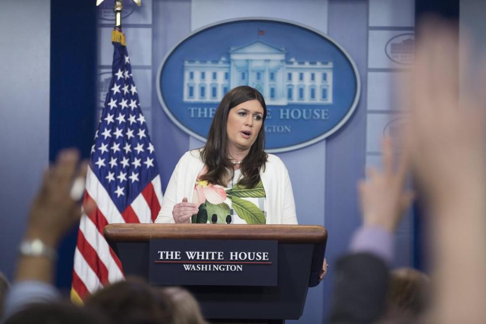epa06012493 White House Deputy Press Secretary Sarah Huckabee Sanders speaks during a news conference in which she defended the tweets about the Mayor of London by US President Donald J. Trump, at the White House in Washington, DC, USA, 05 June 2017. EPA/MICHAEL REYNOLDS