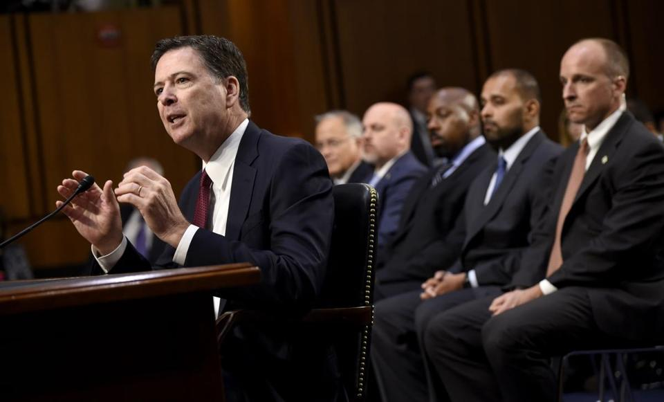 Former FBI director James Comey said that whether justice was obstructed  was a question for recently appointed special counsel Robert Mueller.