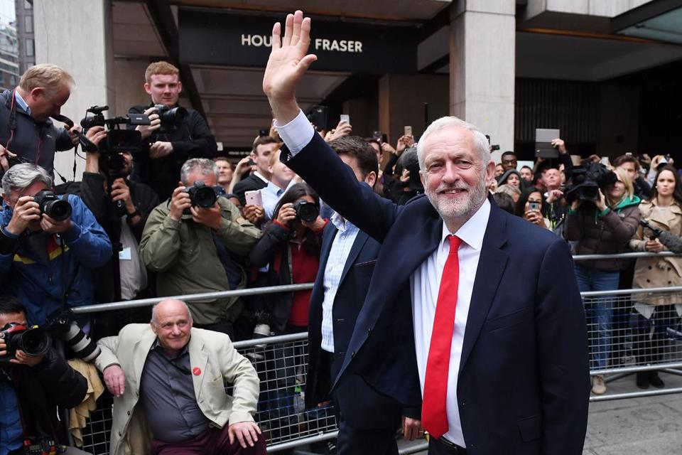 Britain's main opposition Labour Party leader Jeremy Corbyn at Labour Headquarters today in London.