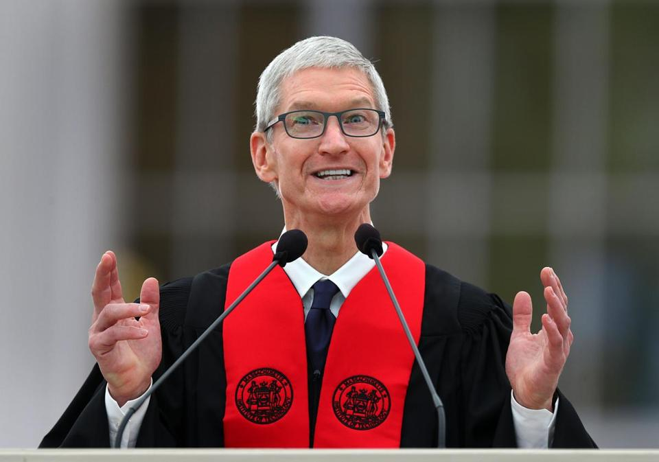 Tim Cook at Friday's MIT commencement.