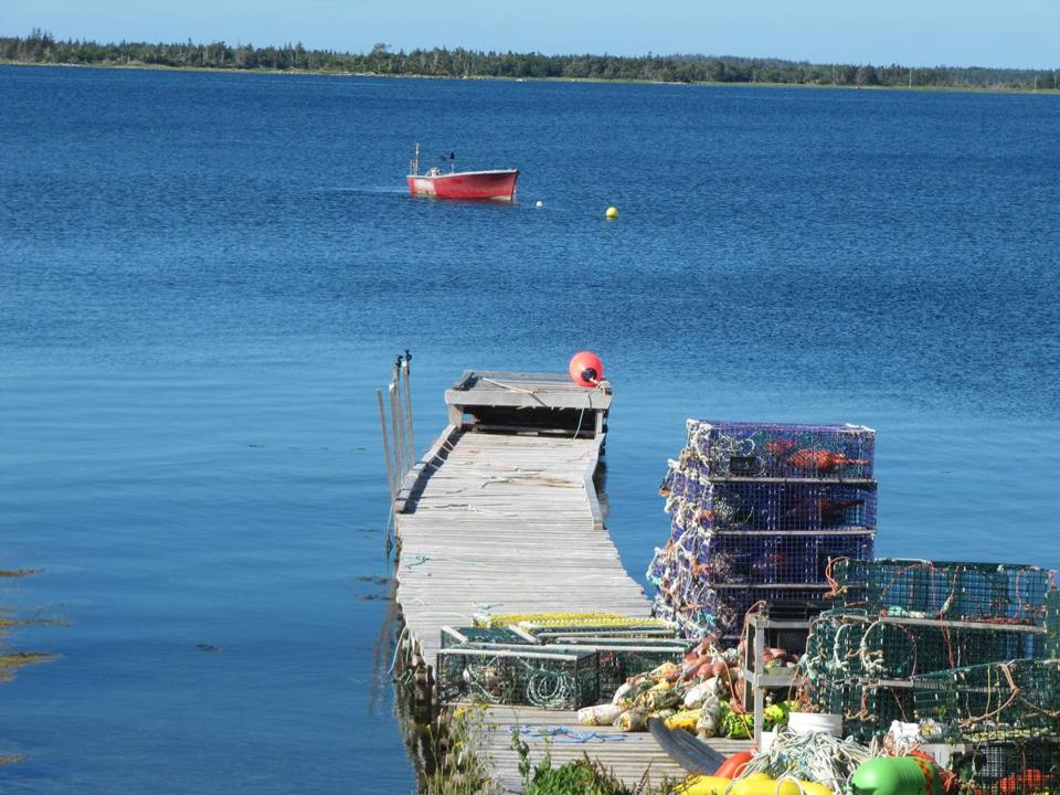 A moored boat bobs in the water beyond a dock with stacks of lobster traps.